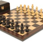 German Knight Staunton Chess Set in Ebonized Boxwood with Macassar Chess Board & Box – 2.75″ King