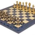 Brass Staunton Chess Set with Blue Ash Burl & Erable Deluxe Chess Board
