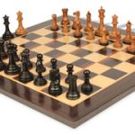 Players Staunton Chess Set in Ebonized Boxwood & Golden Rosewood with Macassar Chess Board – 3.5″ King
