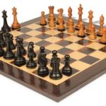 Wingfield Staunton Chess Set in Ebonized Boxwood & Golden Rosewood with Macassar Chess Board – 3.75″ King