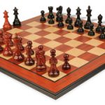 Deluxe Old Club Staunton Chess Set in Ebony & African Padauk with Molded Padauk Chess Board – 3.25″ King