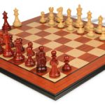 Deluxe Old Club Staunton Chess Set in African Padauk & Boxwood with Molded Padauk Chess Board – 3.75″ King