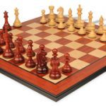 Fierce Knight Staunton Chess Set in African Padauk & Boxwood with Molded Padauk Chess Board – 3.5″ King