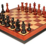 Grande Staunton Chess Set in Ebony & African Padauk with Molded Padauk Chess Board – 4″ King