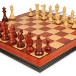 Grande Staunton Chess Set in African Padauk & Boxwood with Molded Padauk Chess Board – 3″ King