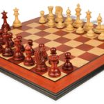 Hadrian Staunton Deluxe Chess Set Package in African Padauk & Boxwood – 4.4″ King
