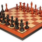New Exclusive Staunton Chess Set in Ebony & African Padauk with Molded Padauk Chess Board – 3″ King