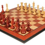 New Exclusive Staunton Chess Set in African Padauk & Boxwood with Molded Padauk Chess Board – 3″ King