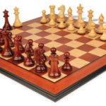 Pershing Staunton Deluxe Chess Set Package in African Padauk & Boxwood – 4.25″ King