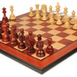 Wellington Staunton Chess Set in African Padauk & Boxwood with Molded Padauk Chess Board – 4.4″ King