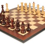 Yugoslavia Staunton Chess Set in Red Sandalwood & Boxwood with Bud Rosewood Molded Chess Board – 3.875″ King
