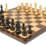 Deluxe Old Club Staunton Chess Set in Ebonized Boxwood with Macassar Chess Board – 3.25″ King