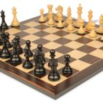 Fierce Knight Staunton Chess Set in Ebonized Boxwood with Macassar Chess Board – 3.5″ King