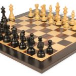 French Lardy Staunton Chess Set in Ebonized Boxwood with Macassar Chess Board – 3.75″ King