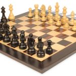 German Knight Staunton Chess Set in Ebonized Boxwood with Macassar Chess Board- 3.25″ King