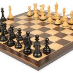 New Exclusive Staunton Chess Set in Ebonized Boxwood with Macassar Chess Board – 3″ King