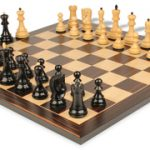 Yugoslavia Staunton Chess Set in Ebonized Boxwood with Macassar Chess Board – 3.875″ King