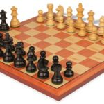 German Knight Staunton Chess Set in Ebonized Boxwood with Rosewood Chess Board – 2.75″ King