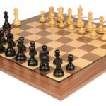 Deluxe Old Club Staunton Chess Set in Ebonized Boxwood with Walnut Chess Board – 3.25″ King