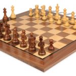 Deluxe Old Club Staunton Chess Set in Golden Rosewood & Boxwood with Walnut Chess Board – 3.25″ King