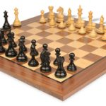 Fierce Knight Staunton Chess Set in Ebonized Boxwood with Walnut Chess Board – 3″ King