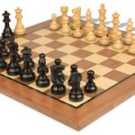 French Lardy Staunton Chess Set in Ebonized Boxwood with Standard Walnut Chess Board – 3.75″ King