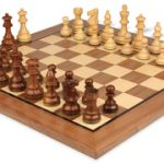 French Lardy Staunton Chess Set in Golden Rosewood & Boxwood with Standard Walnut Chess Board – 3.25″ King
