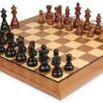 French Lardy Staunton Chess Set in Ebonized Boxwood & Golden Rosewood with Standard Walnut Chess Board – 3.25″ King