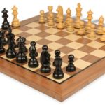 German Knight Staunton Chess Set in Ebonized Boxwood with Walnut Chess Board – 3.75″ King