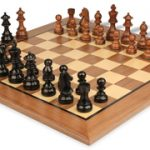 German Knight Staunton Chess Set in Ebonized Boxwood & Golden Rosewood with Walnut Chess Board – 3.25″ King