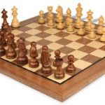 German Knight Staunton Chess Set in Golden Rosewood & Boxwood with Walnut Chess Board – 3.25″ King