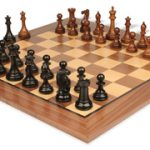 New Exclusive Staunton Chess Set in Ebonized Boxwood & Golden Rosewood with Walnut Chess Board – 3″ King