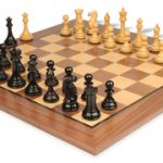 New Exclusive Staunton Chess Set in Ebonized Boxwood with Walnut Chess Board – 4″ King