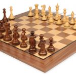 New Exclusive Staunton Chess Set in Golden Rosewood & Boxwood with Walnut Chess Board – 3.5″ King