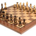 Parker Staunton Chess Set in Burnt Boxwood with Walnut Chess Board – 3.75″ King
