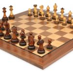 Parker Staunton Chess Set in Burnt Golden Rosewood with Walnut Chess Board – 3.75″ King