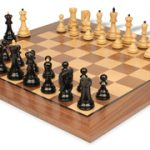 Yugoslavia Staunton Chess Set in Ebonized Boxwood & Boxwood with Walnut Chess Board – 3.875″ King