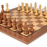 Yugoslavia Staunton Chess Set in Golden Rosewood & Boxwood with Walnut Chess Board – 3.875″ King