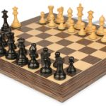 Parker Staunton Chess Set Ebonized & Boxwood Pieces 3.25″ King with Tiger Ebony Deluxe Chess Board