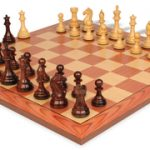 Fierce Knight Staunton Chess Set in Rosewood & Boxwood with Rosewood Chess Board – 3″ King
