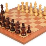 French Lardy Staunton Chess Set in Rosewood & Boxwood with Rosewood Chess Board – 3.75″ King