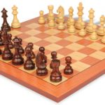 German Knight Staunton Chess Set in Rosewood & Boxwood with Rosewood Chess Board – 3.75″ King