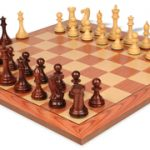 New Exclusive Staunton Chess Set in Rosewood & Boxwood with Rosewood Chess Board – 4″ King