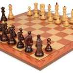 Yugoslavia Staunton Chess Set in Rosewood & Boxwood with Rosewood Chess Board – 3.875″ King