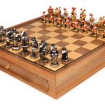 Landsknecht Theme Chess Set Brass & Nickel Hand Painted Pieces with Walnut Chess Case