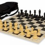 Conqueror Tournament Chess Set Package Black & Camel – Black