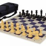 Conqueror Tournament Chess Set Package Black & Camel – Blue