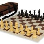 Conqueror Tournament Chess Set Package Black & Camel – Brown