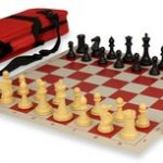 Conqueror Tournament Chess Set Package Black & Camel – Red