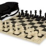 Conqueror Tournament Chess Set Package Black & Ivory – Black